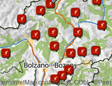 Map: Skiing areas in South Tyrol
