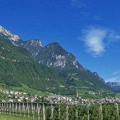 Ein Blick auf das Dorf Tramin